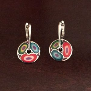 Multi colored silver earrings